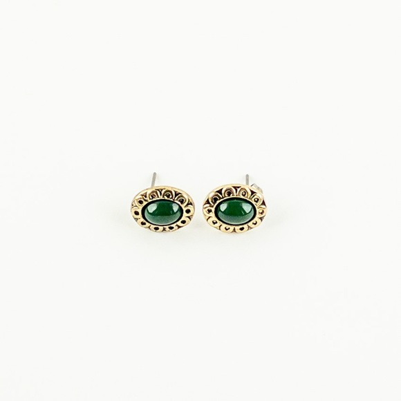 Oval Cabochon Simulated Green Stone Stud Earrings